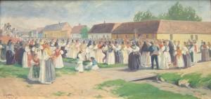 76. Slavko Temerlin, Beravci 1919., ulje na platnu, 64 × 131